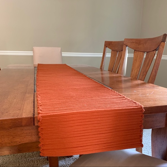 Crate And Barrel Orange Table Runner